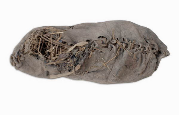 What is thought to be the world's oldest shoe is seen in a photo released after its discovery by an archaeology team from University College Cork